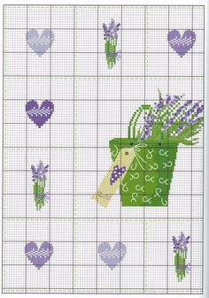 Lavanda by luli Mini Cross Stitch, Cross Stitch Heart, Cross Stitch Borders, Cross Stitch Flowers, Cross Stitch Designs, Cross Stitch Patterns, Quilt Stitching, Cross Stitching, Cross Stitch Embroidery
