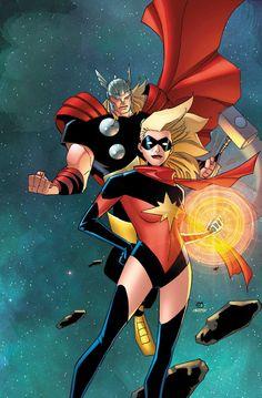 Thor and Ms. Marvel ~ art by Khoi Pham