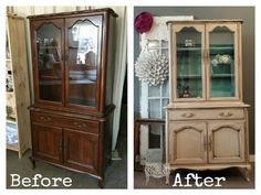 Before and After of this vintage Gibbard China Hutch.  Painted in custom mixed Benjamin Moore paint (mixed into chalk paint) and antique Glazed.  This piece has now sold!  Www.facebook.com/rechicpaintedfurniture