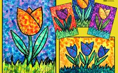 """NEW LESSON: Our new lesson """"Seurat's Tulips"""" is inspired by colourful spring tulips and the beautiful paintings of French artist Georges Seurat. He is most famous for the paintings he created using small dots or dabs of colour. Our step by step lesson is suitable for both beginners and intermediate artists. It comes with both a printable starter template and a lesson plan for your records. Membership with Easy Peasy costs only $40AUD for 12 months access to our online art school for students…"""