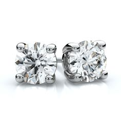 14k White Gold 1 1/2ct TDW 4-prong Round Diamond Stud Earrings (H-I, SI1-SI2) (White Gold Round Diamond Stud), Women's, Size: Large