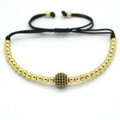 Women Bracelet 18K Gold Rose Plating 4mm Round Beads & 8mm Black CZ Charm Bracelet women Adjust