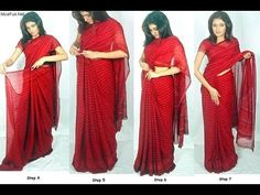 How to wear a Saree - 3 Types of Indian Sari Draping - Learn Different W. Indian Dresses, Indian Outfits, Indian Clothes, How To Wear A Sari, Saree Draping Styles, Bollywood Party, India Fashion, Indian Wear, Indian Style