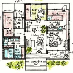 Japan Architecture, Interior Architecture, Small House Plans, House Floor Plans, Small Villa, Craftsman Floor Plans, Interior Sketch, Japanese House, House Layouts