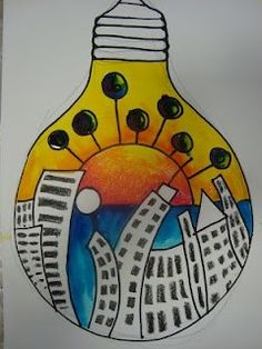 City in a light bulb. Can think of many other topics. We did this with our reflection in a Christmas Tree Bulb