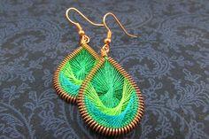 Peruvian Thread Earrings  Emerald Lime Green by OtterCreekDesigns, $27.00
