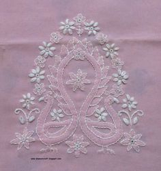 I have started to embroider this chikankari design long back. Completed two days back. Within that I have cross stitched two swans which. Kurti Embroidery Design, Hand Embroidery Flowers, Types Of Embroidery, Indian Embroidery, Hand Embroidery Stitches, Embroidery Fashion, Hand Embroidery Designs, Floral Embroidery, Cross Stitch Embroidery
