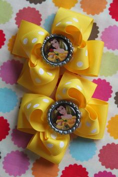Belle Hair Bows -- set of 2 Beauty and the Beast bows for pigtails -- Darling Little Bow Shop. via Etsy.