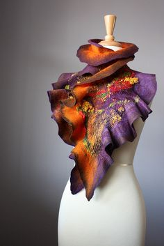 Nuno Felted scarf Wool Silk Purple Brown Orange collage Abstract Contemporary  by VitalTemptation , Etsy, via Flickr