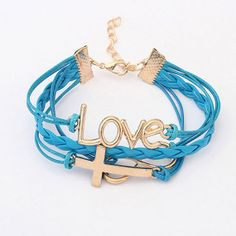 cross braceletwomen s braceletchic blue leather wrap by chicfavor, $3.99