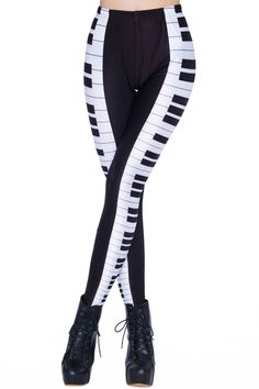 Funny Piano Keyboard Print Leggings