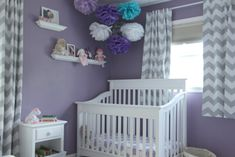love the curtains! Purple grey and teal nursery