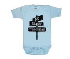 No sleep til brooklyn Blue baby shirt creeper one piece bodysuit silkscreen screenprint Choose Size