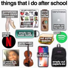 But dance most nights and no violin you've got my life After School Routine, School Routines, Teen Life, Girls Life, Just Girl Things, Girly Things, Basic White Girl, Teen Trends, Aesthetic Memes