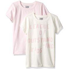 8b1d6d5f6 LOOK by crewcuts Pack de 2 Camisetas de Manga Corta con Diseño Gráfico Liso  Niña