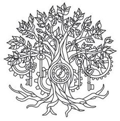 Coloring Page World: Time Tree