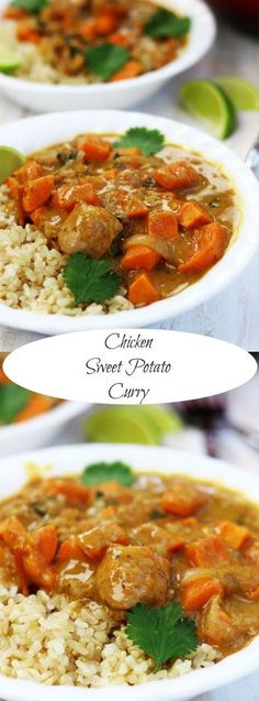 Chicken Sweet Potato Curry recipe is the ultimate healthy decadence. Savory curry spices with a slight sweetness surround tender chicken and sweet potatoes. An easy whole food meal for the whole family. http://www.thefedupfoodie.com