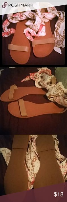 Sandals Pretty open toe scarve  sandals the scarves wrap around ankles never been worn I just put one on to show BNWOT Gorjana Shoes Sandals