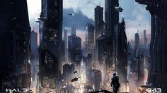 Halo 5: Guardians, game, fps, sci-fi, shooter, space, robots, spaceship, soldier, city, art, 4k, 5k, pc, screenshot
