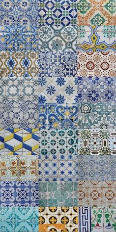 Azulejos de Portugal, Portuguese Tiles, azulejos | Pretty patchwork tile patterns and color.