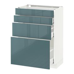METOD / MAXIMERA Élt bas 4 faces/4 tiroirs - blanc, Kallarp brillant gris turquoise, 60x37 cm - IKEA