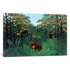 iCanvas 'Monkeys In The Jungle, 1910' by Henri Rousseau Canvas Print