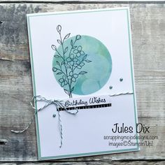 Scrapping Mojo Designs: Birthday Wishes Card with Touches of Texture from Stampin' Up!