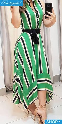 Contrast Striped Irregular Dress is part of Wedding nails Acrylic Valentines Day - Wedding nails Acrylic Valentines Day Cute Dresses, Beautiful Dresses, Casual Dresses, Summer Dresses, Hijab Fashion, Fashion Dresses, African Dress, Dress Patterns, African Fashion