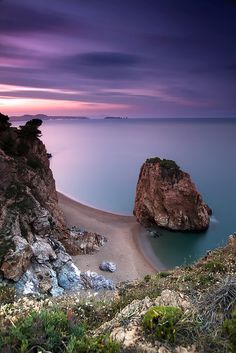 Costa Brava violet and purple sunset,  Catalonia | Europe