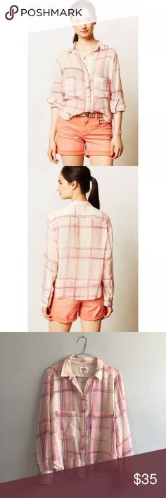 Anthropologie *Holding Horses* Blushed Plaid Shirt Excellent pre-owned condition. Oversized lightweight beautiful Plaid shirt. Anthropologie by Holding Horses. Size Small. Anthropologie Tops Blouses