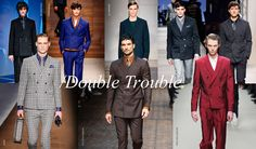 Men trends review Fall Winter 2014-2015: Double Trouble - Double-breasted suits have been edging their way back into fashion for some seasons now. From boxy eighties silhouettes to fifties armour, the double-breasted blazer has many incarnations. This season, its versatility and the breadth of interpretation is a firm testimony to the fact the double breast is here to stay.