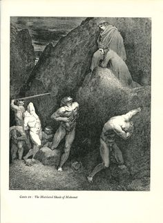 Gustave Dore Print /Bookplate 1948 Shade of Mahomet Dante Devil Divine Comedy #Realism