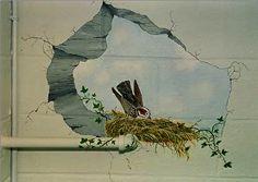 Bird's Nest / broken wall - via Anne Giancola