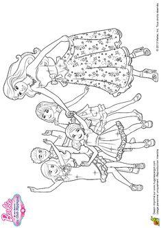 Coloriage du dessin de barbie et son amie en train de - Barbie et la licorne ...