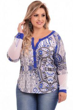 Camisa Grecia Plus Size Plus Size Looks, Curvy Plus Size, Plus Size Girls, Plus Size Women, Moda Feminina Plus Size, Modelos Plus Size, Moda Plus Size, Plus Size Fashion For Women, Blouse Dress