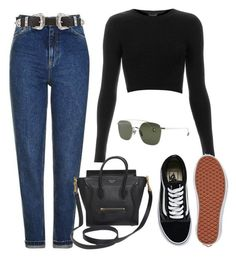 """Sin título #3126"" by greciavalentino ❤ liked on Polyvore featuring Topshop, B-Low the Belt, Vans and CÉLINE"