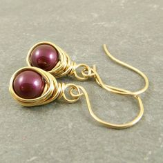 Pearl Dangle Earrings Wrapped in 14K Gold Fill  by adorned7, $27.00