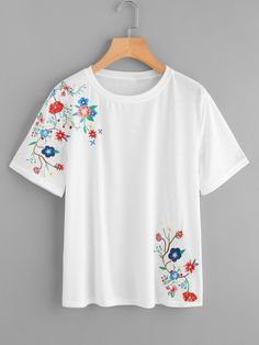 SheIn offers Botanical Embroidered Tee & more to fit your fashionable needs. Embroidery On Clothes, Shirt Embroidery, Embroidered Clothes, Embroidery Fashion, Hand Embroidery Designs, Embroidery Patterns, Fabric Painting On Clothes, T Shirt Painting, Painted Clothes