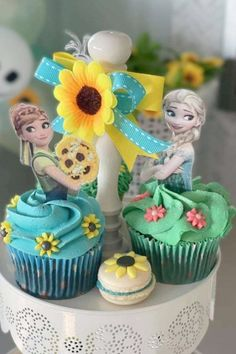 Take a look at the impressive Anna and Elsa cupcakes at this Frozen fever birthday party. See more party ideas and share yours at CatchMyParty.com