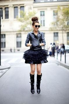 what-do-i-wear:     Missguided Leather Jacket, H Tutu & Burberry Boots (via my wardrobe) (image: befrassy)