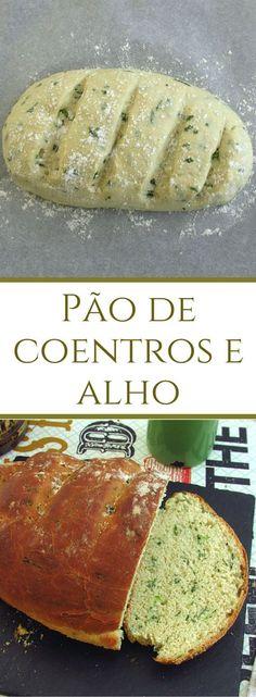 Pão de coentros e alho | Food From Portugal. Um pão delicioso aromatizado com coentros e alhos que combina na perfeição com manteiga ou queijo. #receita #pão