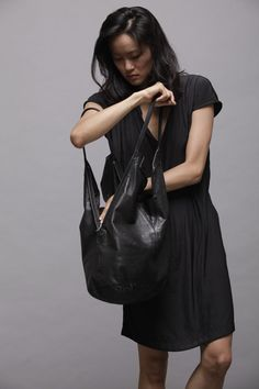 Black Leather Tote Bag Soft Leather Bag  Shoulder by LadyBirdesign
