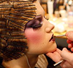 backstage hair/makeup - john galliano/paris - hairpinned bob