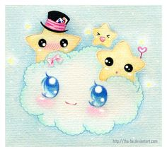Kawaii cloud and stars