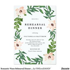 Romantic Vines Rehearsal Dinner Invitation Our Romantic Vines Collection is the perfect choice for a romantic garden themed wedding. This design features shades of green flowing vines and a hint of color with blooming blush pink flowers.