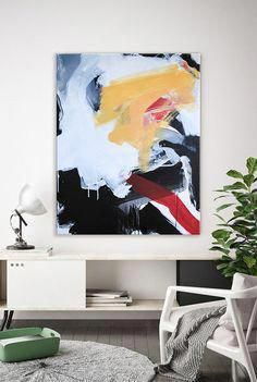 Modern art paintings for your home. Red, yellow, black and white. Shop the spring sale for original art Modern Art Paintings, Unusual Art, Contemporary Abstract Art, Hanging Art, Les Oeuvres, Canvas Art, Large Canvas, Original Art, Palette