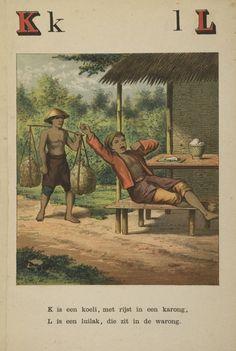 Koelie: Het aardige Indisch A.B.C. voor aardige jong-Indiërs / vervaardigd en uitg. door een paar aartsliefhebbers van Indië. - Leiden : Kolff, [1879]. Aanvraagnummer: 1087 A 95.
