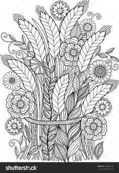 Vector Coloring Book For Adult Summer Flowers Ears Sheaf