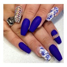 Midnight purple blue floral rhinestone matte nails ❤ liked on Polyvore featuring beauty products, nail care, nail polish and nails