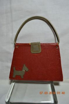 Vintage Child's Red Purse With Scottie Dog